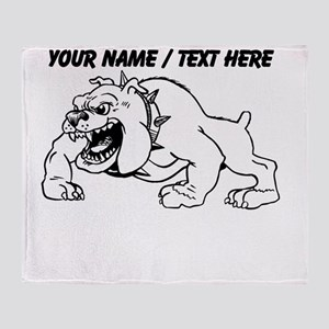 Custom Bulldog Mascot Throw Blanket
