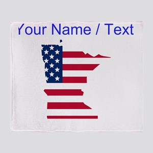 Custom Minnesota American Flag Throw Blanket