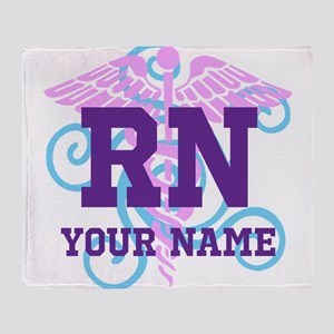 RN swirl with personalized name Throw Blanket