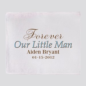 Blue Brown Personalizable Little Man Throw Blanket
