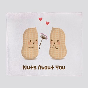 Cute Peanuts Nuts About You Love Humor Throw Blank