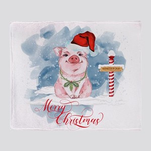 Merry Christmas Pig North Pole Throw Blanket