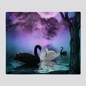 Wonderful black and white swan in the night Throw