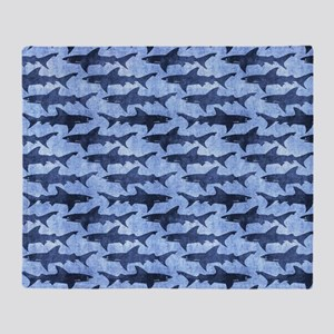Sharks in the Blue Sea Throw Blanket