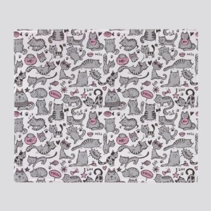 Whimsical Cartoon Cat Pattern Throw Blanket