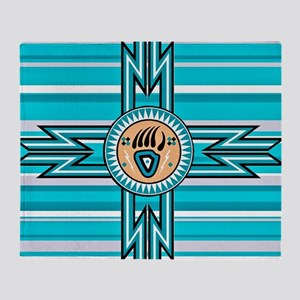 Turquoise Bear Paw - Native American Throw Blanket