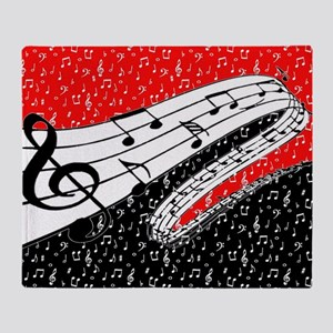 Red and black music theme Throw Blanket