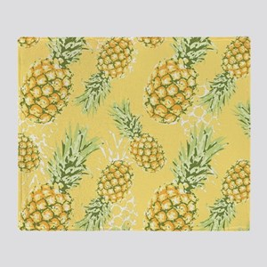 Tropical Pineapple on Pastel Yellow Throw Blanket