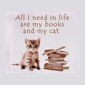 Cats and books Throw Blanket