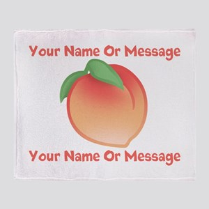 PERSONALIZED Peach Cute Throw Blanket