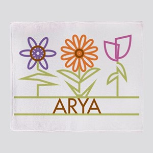 Arya with cute flowers Throw Blanket