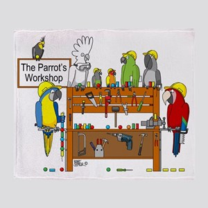 The Parrot's Workshop Logo Throw Blanket