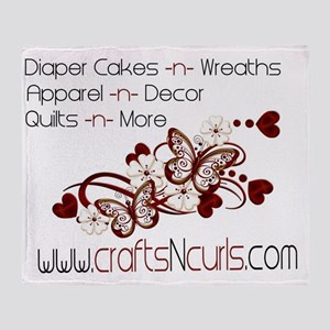 Crafts-N-Curls logo Throw Blanket