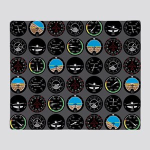 Flight Instruments Throw Blanket