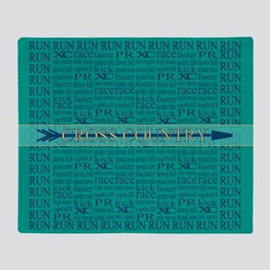 Cross Country Running Collage Blue Throw Blanket