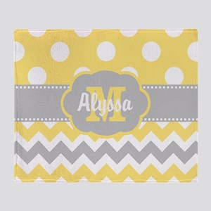 Yellow Gray Chevron Dots Personalized Throw Blanke