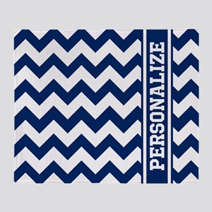 Personalized Blue Chevron Pattern Throw Blanket