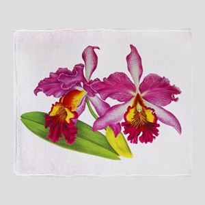 Pink Cattleya Orchid Throw Blanket