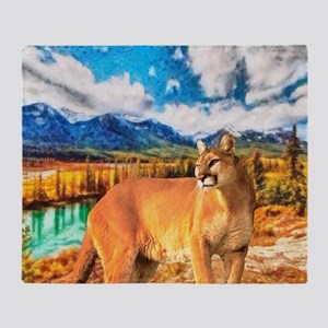 River Cougar Throw Blanket