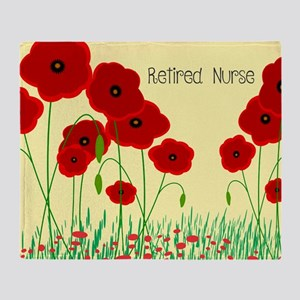 Retired Nurse Red Poppies Throw Blanket