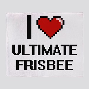 I Love Ultimate Frisbee Digital Desi Throw Blanket