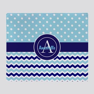 Blue Polka Dot Chevron Throw Blanket
