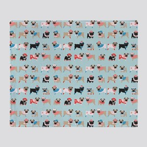 Winter Pugs Throw Blanket