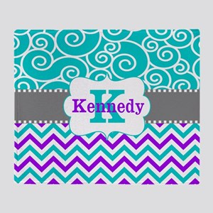 Teal Purple Swirls Chevron Personalized Throw Blan