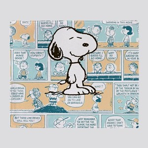 Peanuts Snoopy Comic Strip Throw Blanket