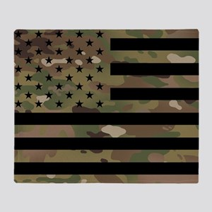 U.S. Flag: Military Camouflage Throw Blanket
