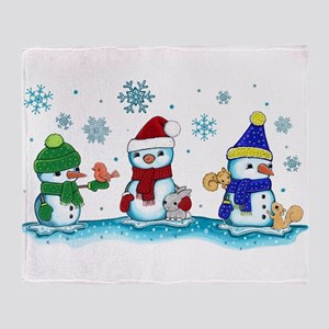 Snowman Friends Throw Blanket
