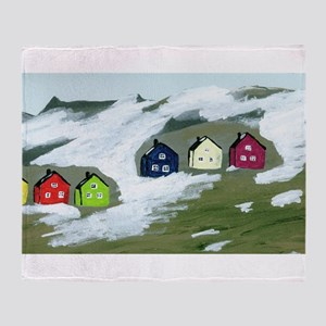 Colorful Winter Houses Throw Blanket