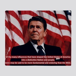 Ronald Reagan Bible Quote Throw Blanket
