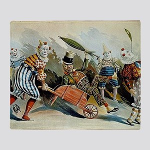 Circus of Clowns Vintage Art Print Throw Blanket