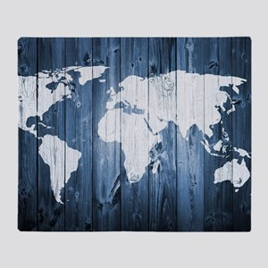 World Map Design Throw Blanket