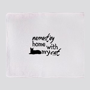 Namast'ay Home with My Cat Throw Blanket