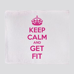 Keep calm and get fit Throw Blanket