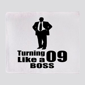 Turning 09 Like A Boss Birthday Throw Blanket