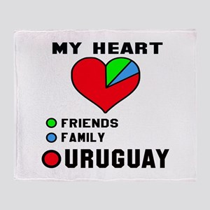 My Heart Friends, Family and Uruguay Throw Blanket