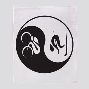 Bike-Ski Yin Yang Throw Blanket