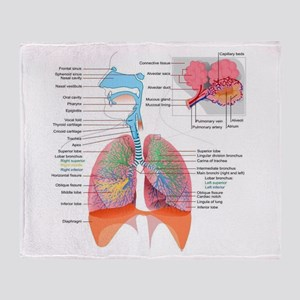 Respiratory system complete Throw Blanket