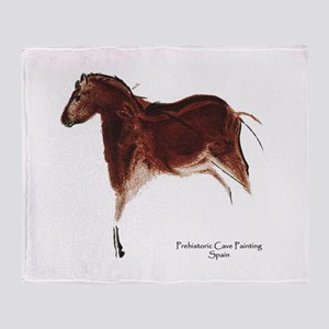 Horse Cave Painting Throw Blanket