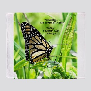 Thinking Butterfly Throw Blanket