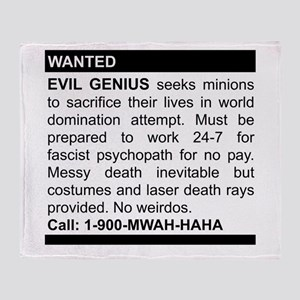 Evil Genius Personal Ad Throw Blanket