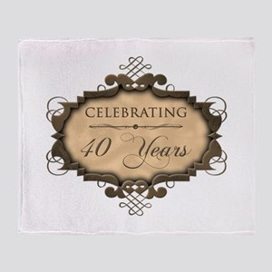 40th Wedding Aniversary (Rustic) Throw Blanket