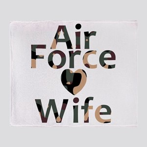 Air Force Wife Heart Camo Throw Blanket