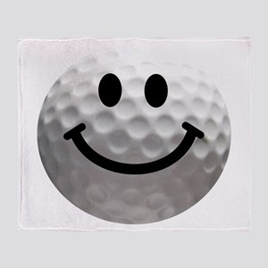 Golf Ball Smiley Throw Blanket