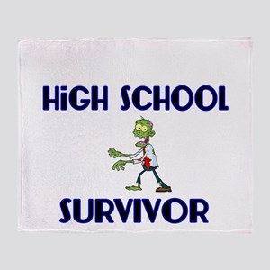 High School Survivor-Zombie-blue Throw Blanket