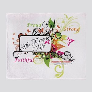air force wife flowers mult Throw Blanket