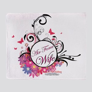 air force wife flowers pink black 3 Throw Blanket